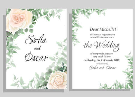 Wedding invitation template. Beige roses, eucalyptus, green plants and leaves. All elements are isolated.