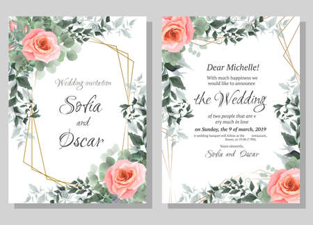 Wedding invitation template. Polygonal gold frame, pink roses, eucalyptus, green plants and leaves. All elements are isolated.
