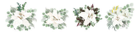 Set of vector bouquets on a white background. Lily flowers, green plants, eucalyptus, berries.