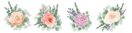 Set of vector bouquets. Lavender, pink and beige roses, eucalyptus branches, green plants. Flowers on a white background. Stockfoto - 128533382