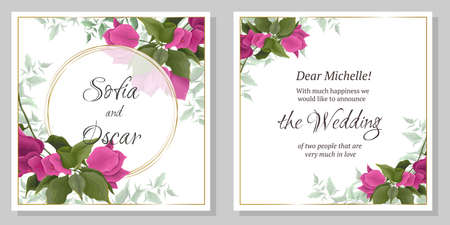 Template for a wedding invitation. Bougainvillea flowers, green plants and leaves. Illustration