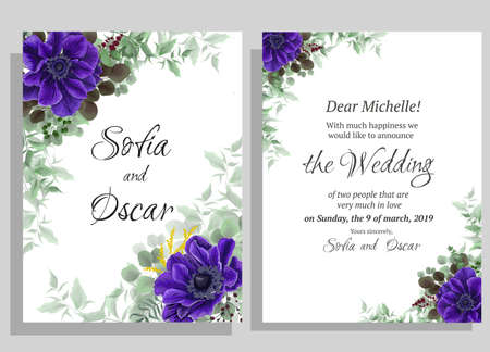 Template for a wedding invitation. Beautiful blue anemones, eucalyptus, green plants and leaves. Vector postcard.