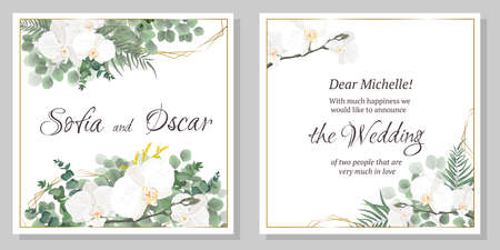 Vector floral template for wedding invitations. Orchid flowers, green plants, leaves. All elements are isolated.
