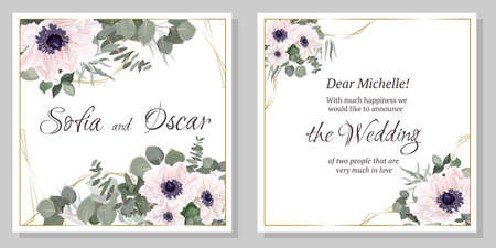 Vector template for a wedding invitation. White anemone flowers, eucalyptus, green leaves and plants.