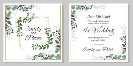 Vector template for wedding invitation. Gold sequins, green leaves, gold geometric frame. All elements are isolated.