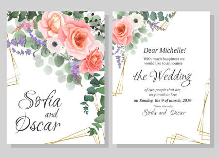 Vector template for wedding invitation. Pink roses, anemones, Wisteria flowers, lavender, berries, green plants.  All elements are isolated. Illustration