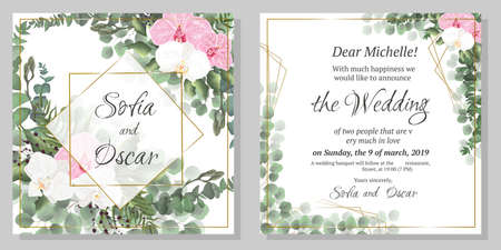 Vector floral pattern for wedding invitations. Orchid flowers, polygonal gold frame, green plants, leaves. All elements are isolated.
