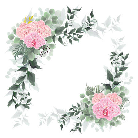 Vector corners for floral design. Pink Orchid flowers, green leaves, plants. All elements are isolated.
