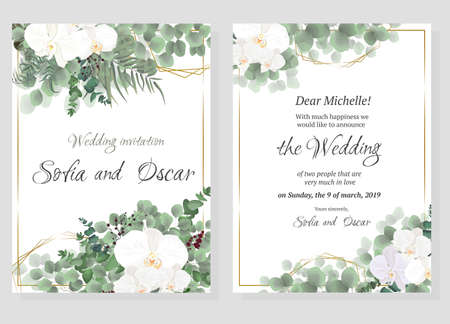 Vector floral pattern for wedding invitations. Orchid flowers, polygonal gold figures, green plants, leaves. All elements are isolated. Illustration