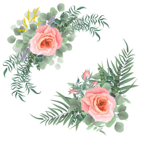 Vector corners of different plants and flowers. Pink roses, green leaves, plants. All elements on a white background are isolated.