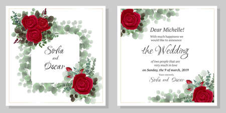 Flower wedding invitation template. Polygonal frame, red and white roses, berries, eucalyptus, green plants and leaves. All elements are isolated.