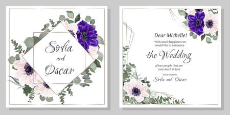 Vector template for a wedding invitation. Beautiful blue and white anemones, green plants and flowers.