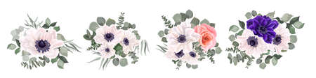 Vector set of anemone flowers. Blue and white anemones, pink roses, eucalyptus,  green leaves and plants. Flowers on a white background.