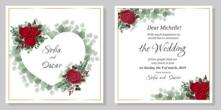 Vector frame in the shape of a heart of green leaves. Red rose, green plants, rose buds.  All elements are isolated. Wedding invitation template. Illustration