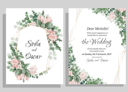 Vector template for wedding invitation. Polygonal gold frame, Bougainvillea flower branches, green leaves and plants. Illustration