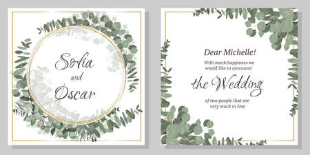 Vector template for invitation. Golden round frame, green plants and leaves, eucalyptus.