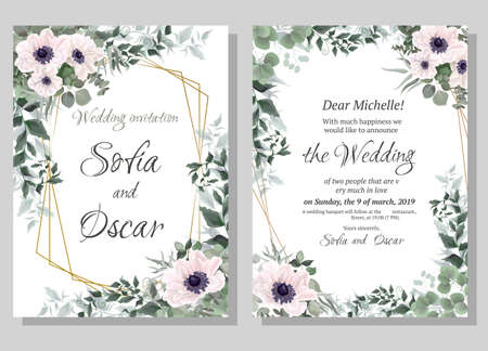 Vector template for wedding invitation. Polygonal abstract frame, anemone flowers, berries, green leaves, plants.