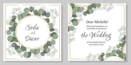 Template for a wedding invitation. Green eucalyptus, round golden frame.
