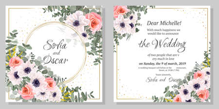 Floral template for a wedding invitation. Anemone flowers, pink roses, eucalyptus. 矢量图像