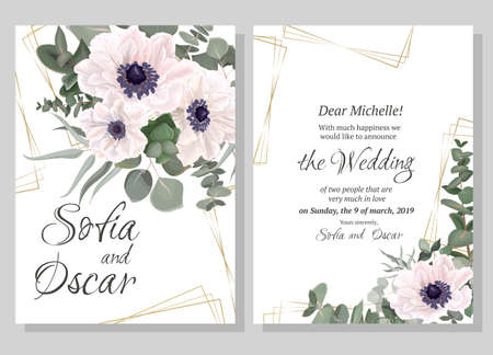 Vector template for wedding invitation. Polygonal gold shapes, anemone flowers, green leaves, plants, eucalyptus. Illustration