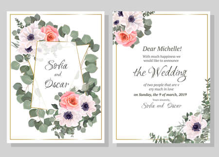 Vector template for wedding invitation. Polygonal abstract frame, anemone flowers, pink rose, berries, green leaves, plants.