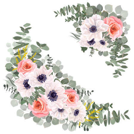 Vector floral elements for design. White anemones, pink roses, leaves and branches of eucalyptus, mimosa, green plants and leaves.