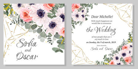 Floral template for a wedding invitation. Anemone flowers, pink roses, eucalyptus, golden abstract shapes. Greeting card. Illustration