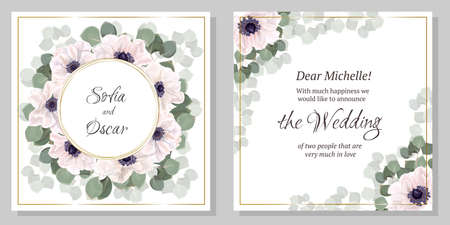 Vector template for wedding invitation. Greeting card template. Anemone flowers, green leaves, round frame, eucalyptus. All elements are isolated. Illustration