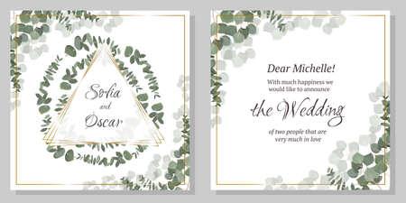 Template for a wedding invitation. Green eucalyptus, triangle golden frame.