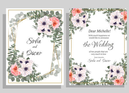 Floral template for a wedding invitation. Anemone flowers, pink roses, eucalyptus. Illustration