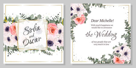 Floral template for a wedding invitation. A border of white anemones, pink roses, eucalyptus, green leaves and plants. Greeting card.