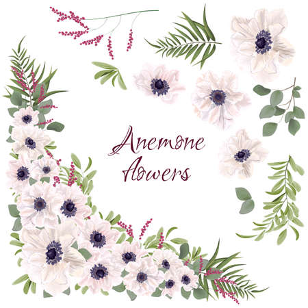Vector corners of flowers, berries and plants. White anemones, berries, green plants. All elements are isolated on white background.  Ilustracja