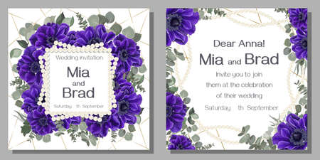 Floral template for a wedding invitation. Blue anemones, eucalyptus, green plants and leaves, square pearl frame. Template for a greeting card.