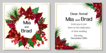Vector template for a wedding invitation in the New Year style. Poinsettia, berries, branches of a Christmas tree, golden frame.