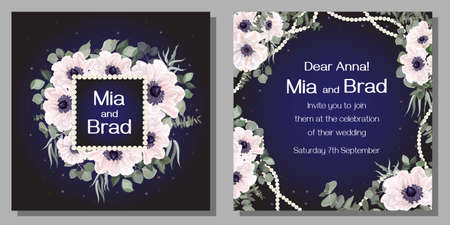 Floral template for a wedding invitation. White anemones, eucalyptus, green plants and leaves, square pearl frame, dark background and sparkles. Template for a greeting card.