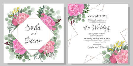 Vector template for wedding invitation. Polygonal gold frame, peony flowers, berries, green leaves and plants.