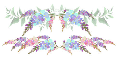 Ensemble de bordures vectorielles de fleurs de glycine. Tous les éléments sont isolés.