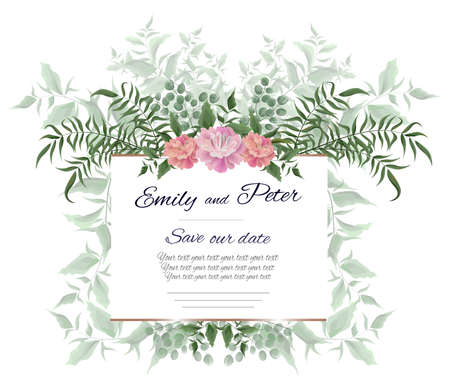 Vector frame, a template for the invitation. Green leaves, twigs and peony flowers. All elements are isolated.