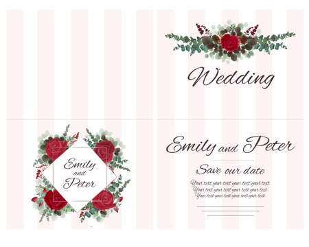 Vector template for wedding invitation. Red roses, berries, green plants, eucalyptus. All elements are isolated. Greeting card. Illustration