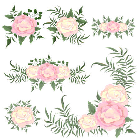Set of vector border, corner, bouquet with pink roses and greenery. All elements are isolated. Elements for design.