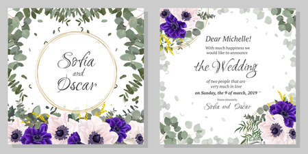 Floral template for a wedding invitation. Round frame, blue and white anemones, eucalyptus, green leaves and plants. Greeting card.