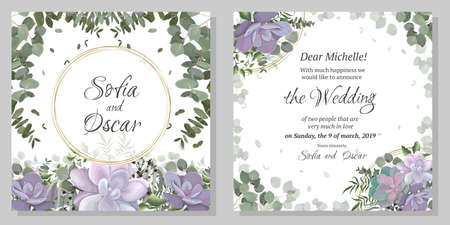 Floral invitation card. Succulents, eucalyptus, berries, plants and leaves. Иллюстрация