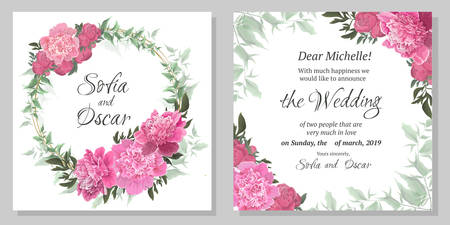 Greeting card for wedding invitations. Gold round frame, pink peonies, eucalyptus.