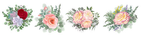 Flower set for your design. Beautiful pink and red roses, succulents, eucalyptus, berries, green plants. Flowers on a white background. Illustration