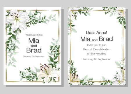 Vector template for a wedding invitation. Beautiful white lilies, green plants. Elegant wedding design.