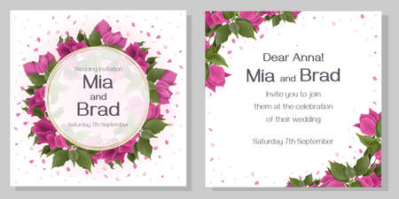 Bougainvillea flowers, green leaves and petals. Golden frame. Bright design for your wedding invitation.