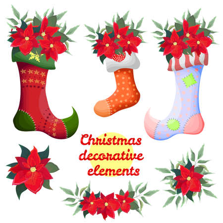 Vector Christmas decorative elements. Christmas socks with poinsettia. Borders and flowers of poinsettia. All elements are isolated.