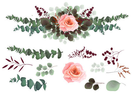 Vector border of pink roses, berries and leaves. All elements are isolated on a white background.