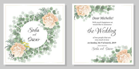 Round vector frame of green leaves, peony flowers, Mimosa, berries. Wedding invitation template. 免版税图像 - 139602509