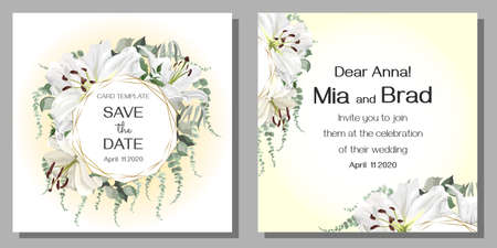 Elegant template for invitation. Floral design, white lilies, green leaves gold polygonal frame, ivy. Postcard for your text.